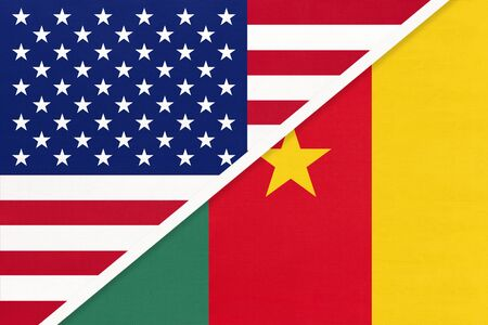 USA vs Republic of Cameroon national flag from textile. Relationship, partnership and economic between two american and african countries.