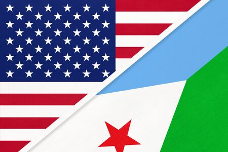 USA vs Republic of Djibouti national flag from textile. Relationship, partnership and economic between two american and african countries. Imagens