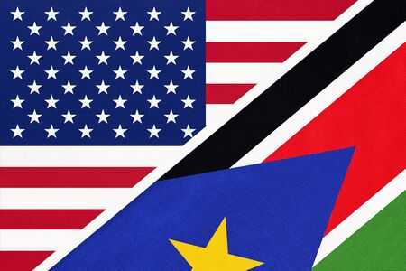 USA vs Republic of South Sudan national flag from textile. Relationship, partnership and economic between two american and african countries. Imagens