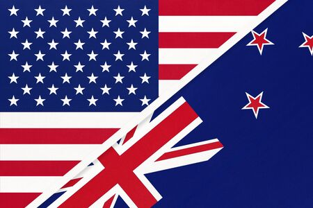 USA vs New Zealand national flag from textile. Relationship, partnership and economic between two american and Oceania countries.