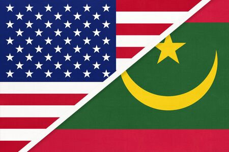USA vs Islamic Republic of Mauritania national flag from textile. Relationship, partnership and economic between two american and african countries.