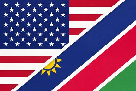 USA vs Republic of Namibia national flag from textile. Relationship, partnership and economic between two american and african countries.