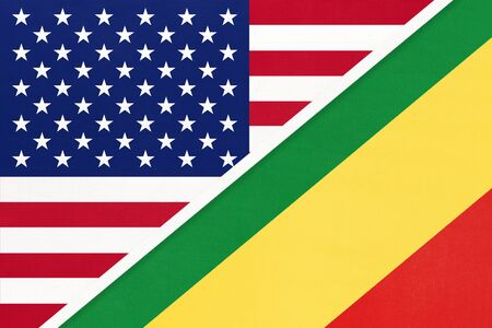 USA vs Republic of the Congo national flag from textile. Relationship, partnership and economic between two american and african countries. Imagens