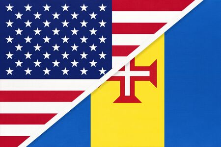 USA vs Autonomous Region of Madeira national flag from textile. Relationship, partnership and economic between two american and african countries.