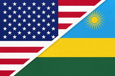 USA vs Republic of Rwanda national flag from textile. Relationship, partnership and economic between two american and african countries.