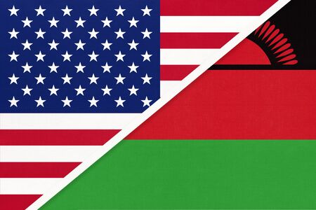 USA vs Republic of Malawi national flag from textile. Relationship, partnership and economic between two american and african countries.
