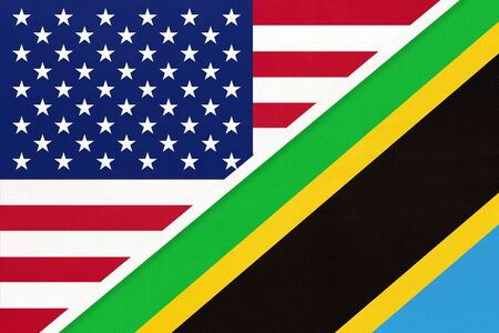 USA vs United Republic of Tanzania national flag from textile. Relationship, partnership and economic between two american and african countries.