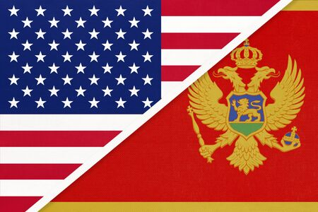 USA vs Montenegro national flag from textile. Relationship, partnership and economic between two american and european countries.