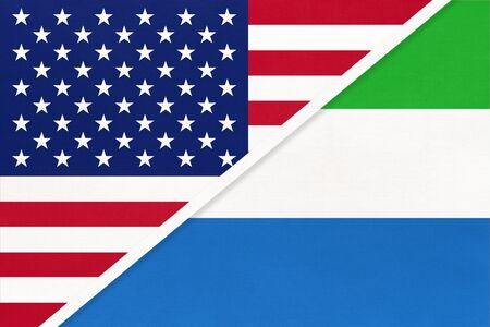 USA vs Republic of Sierra Leone national flag from textile. Relationship, partnership and economic between two american and african countries.