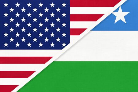 USA vs Puntland State of Somalia national flag from textile. Relationship, partnership and economic between two american and african countries.