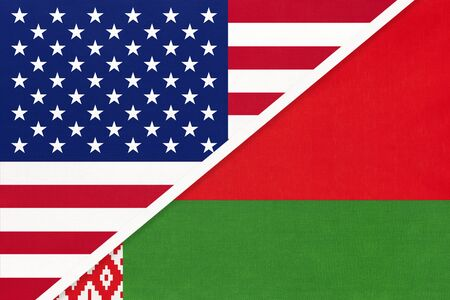 USA vs Belarus national flag from textile. Relationship, partnership and economic between two american and european countries.