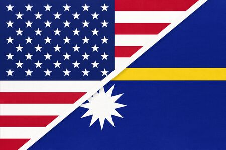 USA vs Nauru national flag from textile. Relationship, partnership and economic between two american and Oceania countries.