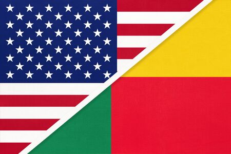 USA vs Republic of Benin national flag from textile. Relationship, partnership and economic between two american and african countries. Imagens
