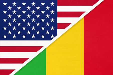 USA vs Republic of Mali national flag from textile. Relationship, partnership and economic between two american and african countries. Imagens