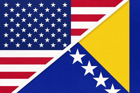USA vs Bosnia and Herzegovina national flag from textile. Relationship, partnership and economic between two american and european countries.
