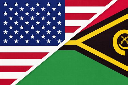 USA vs Republic of Vanuatu national flag from textile. Relationship, partnership and economic between two american and Oceania countries.