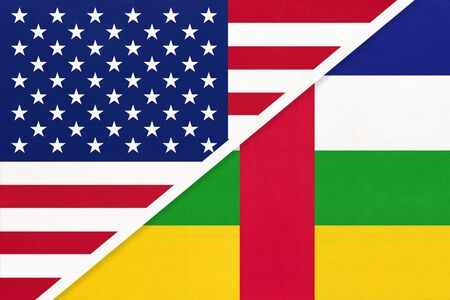 USA vs Central African Republic national flag from textile. Relationship, partnership and economic between two american and african countries. CAR