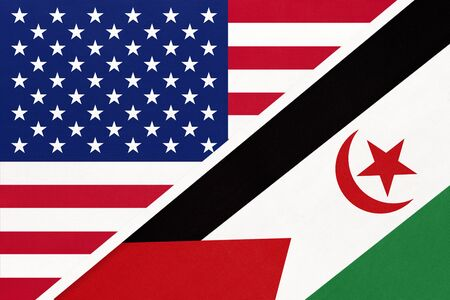 USA vs Sahrawi Arab Democratic Republic national flag from textile. Relationship, partnership and economic between two american and african countries. SADR