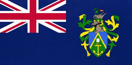 Pitcairn Islands national fabric flag, textile background. Symbol of international british overseas territories, world country. United Kingdom state official sign.