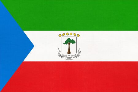Republic of Equatorial Guinea national fabric flag, textile background. Symbol of international world African country. State official sign. Imagens