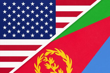 USA vs State of Eritrea national flag from textile. Relationship, partnership and economic between two american and african countries. Imagens