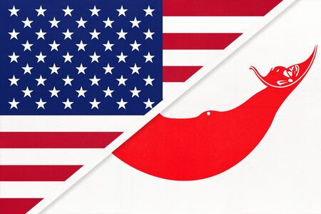 USA vs Easter Island national flag from textile. Relationship, partnership and economic between two american and Oceania countries.