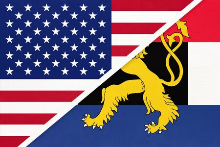 USA vs Benelux national flag from textile, Netherlands. Luxembourg, and Belgium country.
