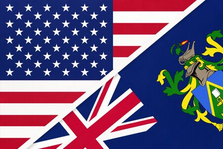USA vs Pitcairn Islands national flag from textile. Relationship, partnership and economic between two american and british countries.