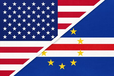 USA vs Republic of Cabo Verde national flag from textile. Relationship, partnership and economic between two american and african countries.