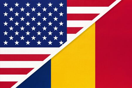 USA vs Republic of Chad national flag from textile. Relationship, partnership and economic between two american and african countries. Imagens