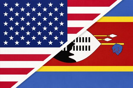 USA vs Kingdom of Eswatini or Swaziland national flag from textile. Relationship, partnership and economic between two american and african countries.