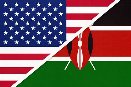 USA vs Republic of Kenya national flag from textile. Relationship, partnership and economic between two american and african countries.