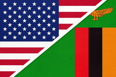 USA vs Republic of Zambia national flag from textile. Relationship, partnership and economic between two american and african countries.