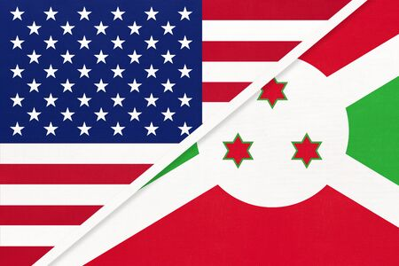 USA vs Republic of Burundi national flag from textile. Relationship, partnership and economic between two american and african countries.