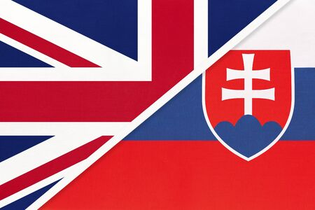 United Kingdom of Great Britain and Ireland vs Slovak Republic or Slovakia national flag from textile. Relationship, partnership and economic between two european countries.