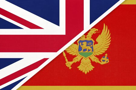 United Kingdom of Great Britain and Ireland vs Montenegro national flag from textile. Relationship, partnership and economic between two european countries.