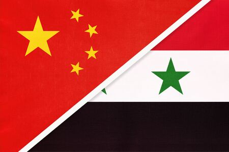 People's Republic of China or PRC vs Syrian Arab Republic or Syria national flag from textile. Relationship, partnership and economic between two asian countries.