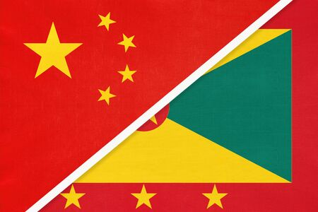 People's Republic of China or PRC vs Grenada national flag from textile. Relationship, partnership and economic between two asian and american countries.