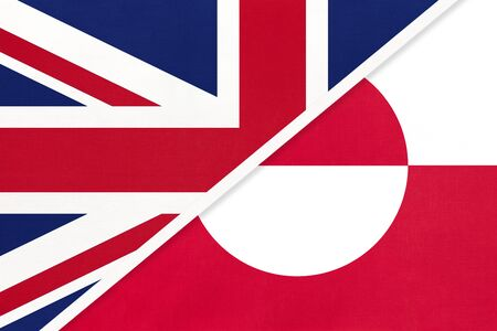 United Kingdom of Great Britain and Ireland vs Greenland national flag from textile. Relationship, partnership and economic between two european and american countries.