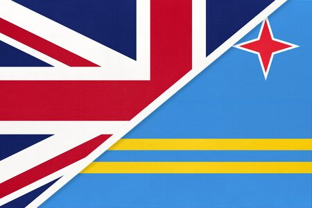 United Kingdom of Great Britain and Ireland vs Aruba national flag from textile. Relationship, partnership and economic between two european and american countries.