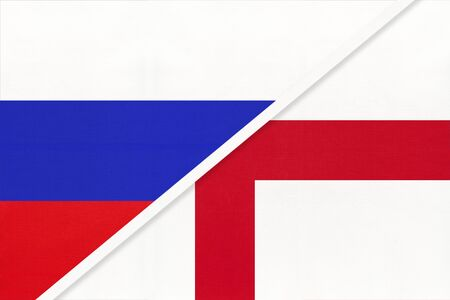 Russia or Russian Federation vs England national flag from textile. Relationship, partnership and economic between two european and asian countries. Stok Fotoğraf