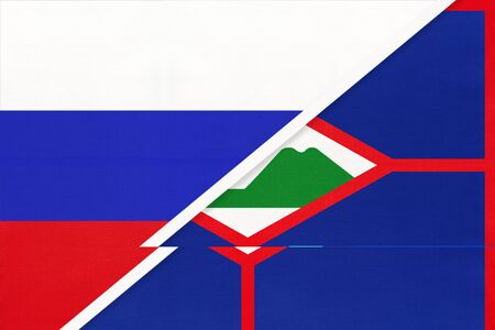Russia or Russian Federation vs Sint Eustatius national flag from textile. Relationship, partnership and economic between two european and american countries.