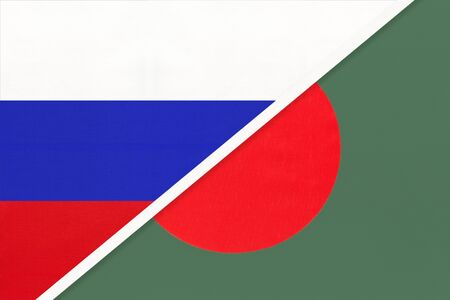 Russia or Russian Federation vs Republic of Bangladesh national flag from textile. Relationship, partnership and economic between two european and asian countries.