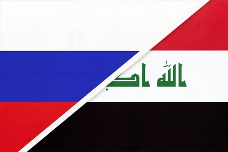 Russia or Russian Federation vs Republic of Iraq national flag from textile. Relationship, partnership and economic between two european and asian countries.