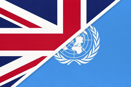 United Kingdom of Great Britain and Ireland national flag vs United Nations or UN official flag. Sign of the international community of world.