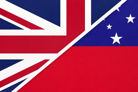 United Kingdom of Great Britain and Ireland vs Independent State of Samoa national flag from textile. Relationship, partnership and economic between two European and Oceania countries.