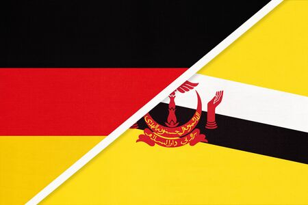 Federal Republic of Germany vs Nation of Brunei, symbol of two national flags from textile. Relationship, partnership and championship between European and Asian countries.