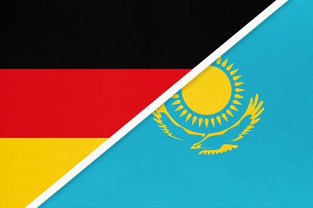 Federal Republic of Germany vs Kazakhstan, symbol of two national flags from textile. Relationship, partnership and championship between European and Asian countries.