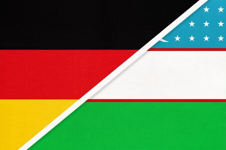 Federal Republic of Germany vs Uzbekistan, symbol of two national flags from textile. Relationship, partnership and championship between European and Asian countries.