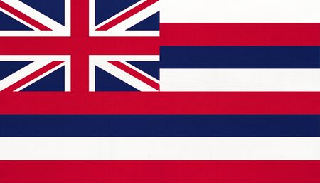 Hawaii national fabric flag textile background. Symbol of international world American country. State official Hawaiian sign. Territory of the USA.